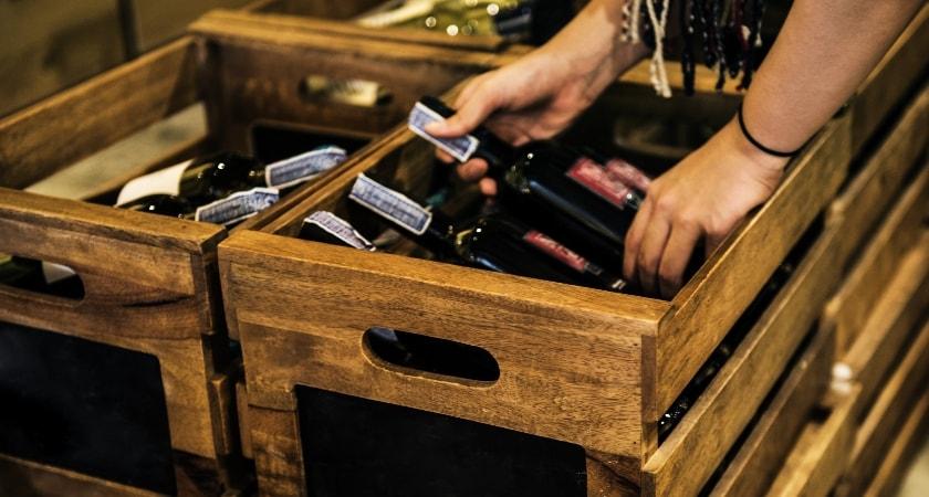 wine bottle in box crate